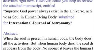 Referee in the International Journal of Astronomy